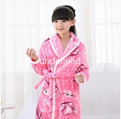 New winter Children warm robe bathrobe girl coral flannel robe kids home wear cl