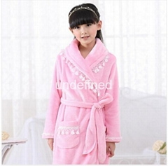 Pajamas bathrobe coral fleece long lovely high quality Princess flannel lace nig