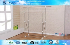Foldable Standing Clothes Drying Rack Stainless Steel Double Pole for Home