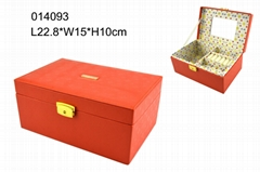 Red PU leather jewelry box with custom-made logo