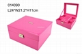 High grade pink PU jewelry box with ring