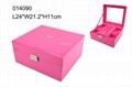 High grade pink PU jewelry box with ring