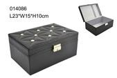 Delicate black PU jewelry box with metal lock for closure made in Shantou