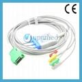 Nihon Kohden OPV-1500 JC-103T ecg cable with 3-lead clip