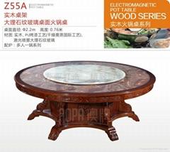 實木桌架 大理石紋玻璃桌面火鍋桌