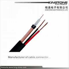 VR-90P RG59 CCTV Coaxial Cable ST 85% CCA Braiding + 2×0.75mm2