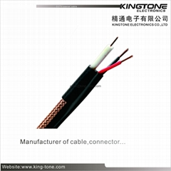 RG59 95% CCA Braid CCTV Coaxial Cable 20 AWG BC Conductor Foamed PE Siamese Cabl