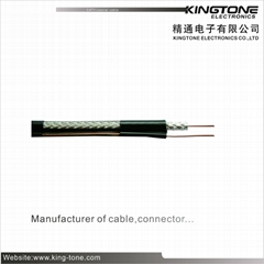 RoHS Standard PVC Jacket CATV RG11 Coax Cable 14 AWG CCS 60% AL Braid With Messe