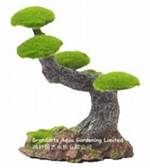 Moss tree stump, bosai tree, tree stump, aquarium ornament tree