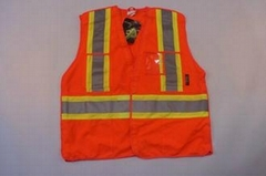 High visibility protection Reflective Safety Vest with pockets , 100% polyester