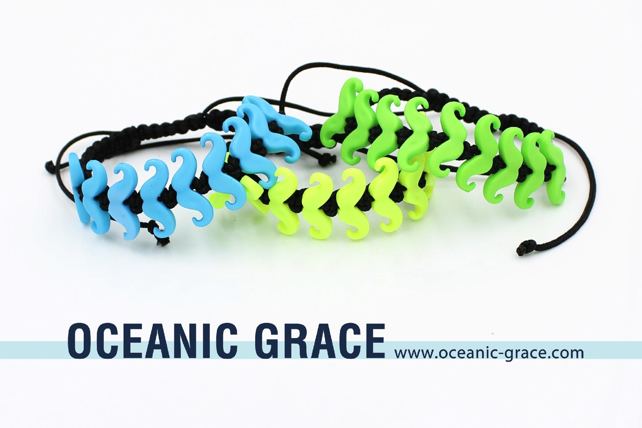 Drawstring Bracelet with Mustache Beads Kids Bracelets BFF Bracelets 1