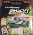 Mach3 Sensitive Power Refill Razor Blades, 8 Cartridges