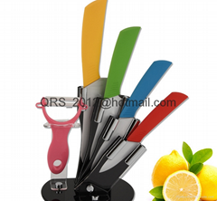 "Ceramic Knife Set Chef Kitchen Knives 3"" 4"" 5"" 6"" + Peeler + Holder"