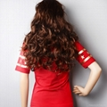 Wonder Woman Gold Foil Striped Sleeves Red Juniors T-shirt