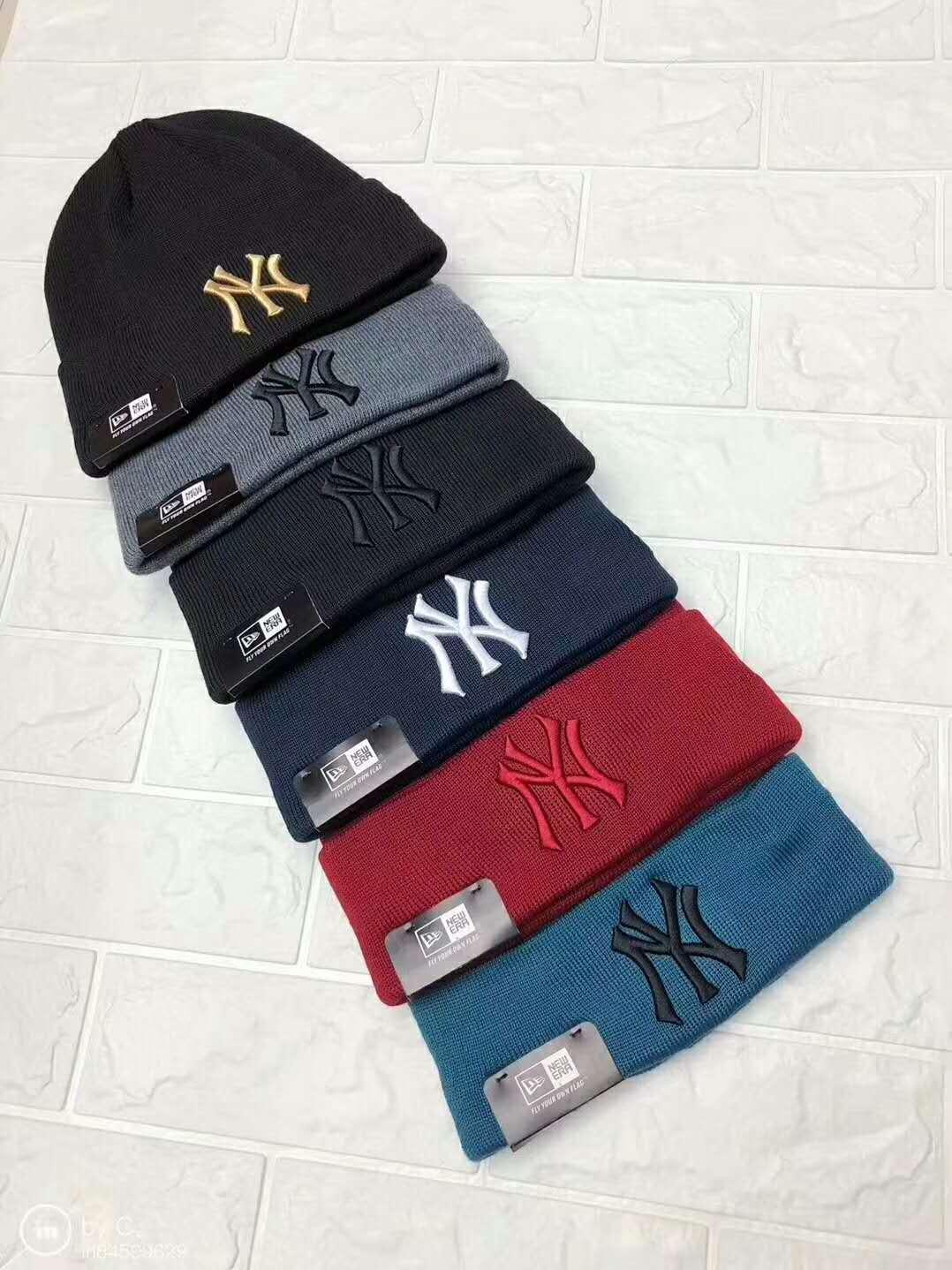 NY Yankees  Knit Cuff Beanie Cap Hat Embroidery Graphite