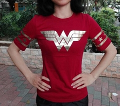 Wonder Woman Gold Foil Striped Sleeves Red Juniors T-shirt  (Hot Product - 1*)