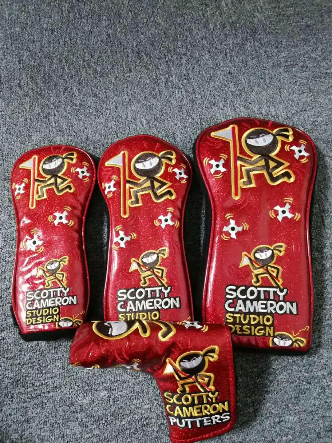 New Scotty Cameron wasabi warrior  headcover set,driver headcover,fairway headcover,hydrid/utility headcover,putter headcover -red