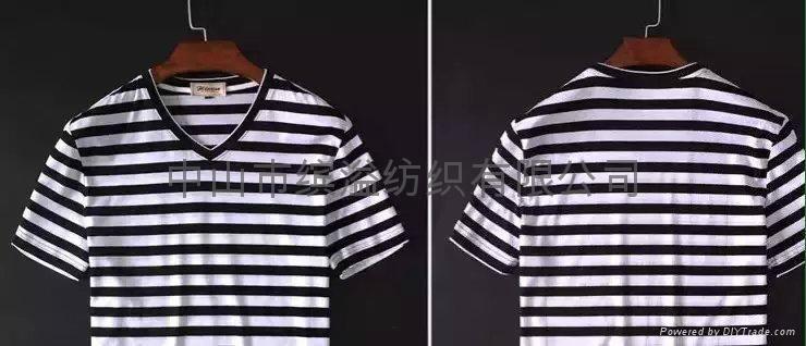 双丝光棉小间条T恤 1