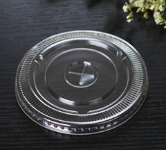 Transparent plastic disposable flat cup lids