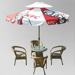 double layers printed Parasol umbrella and patio umbrella with crank handle