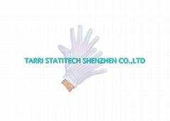 Lint Free ESD Striped Plain Gloves Comfortable Polyester White Anti Static Worki