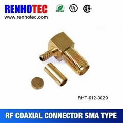 50 ohm SMA Jack R/A crimp terminal connectors for coaxial cable RG174