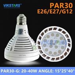 E26/E27/G12 Par30 LED light 40w beam angle 15 degree 25degree 40degree