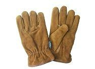 brown color split cowhide leather safety work gloves with full cotton liner
