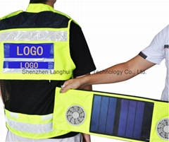 Green Energy Product Safety Vest with Solar Panels Recharger and Fans S05b