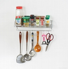 Stainless Kitchen Accessories Shelf With 6 Hooks