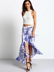garment factory women print high cutting flowy long maxi skirt 2016