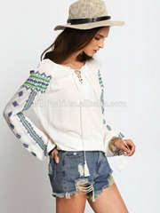 2016 spring latest white vintage print loose lady blouse & top
