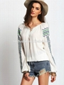 2016 spring latest white vintage print loose lady blouse & top 3