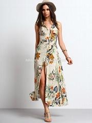 factory clothing wholesale button floral print swing women long maxi dress