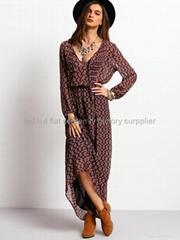 womens dresses wholesale clothing retro swing long sleeve maxi dress for women