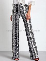 fashion clothing vintage flowy thin maxi long straight woman trousers 2016