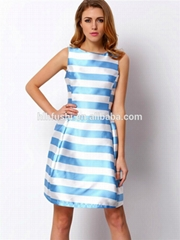 back zip down stripe vivid satin beautiful lady alibaba fashion dress