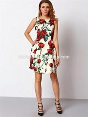 elegant fit cutting floral print rose women dresses 2016 summer