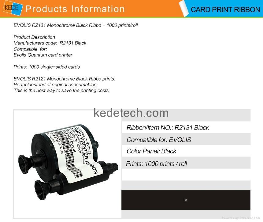 For Evolis R2131 BLACK Ribbon-3000 prints 4