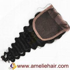100% human hair pieces lace closures natural color