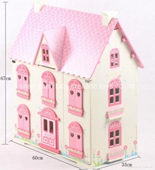 Traditional Pink Wooden Doll House with furniture
