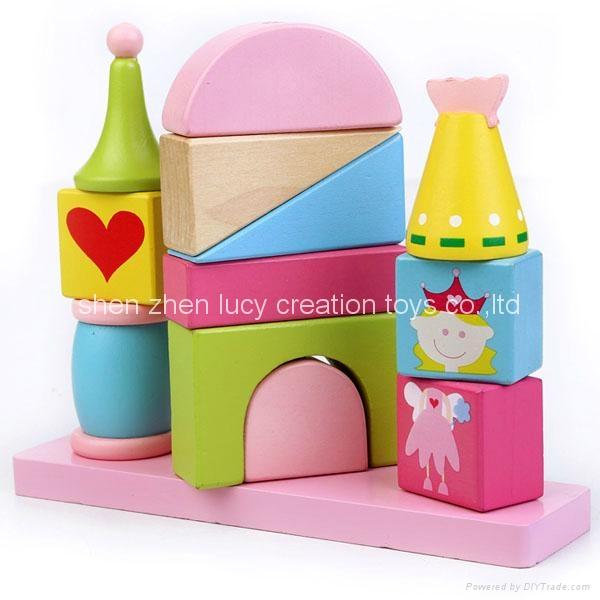 Fairytale Princess Castle Series Pink Wooden Shape Sorter Toy Blocks for Girls 1