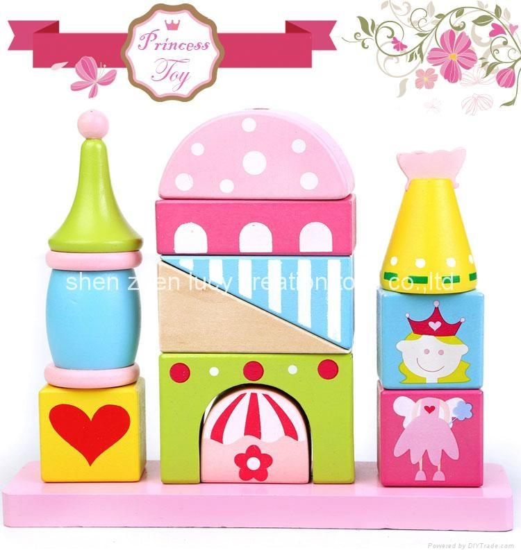 Fairytale Princess Castle Series Pink Wooden Shape Sorter Toy Blocks for Girls 4