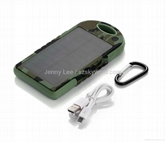 Private Label Camo Solar Power Bank 12000mah Outdoor USB Mobile Phone Charger