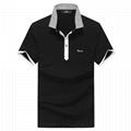 Fuguiniao Mens Slim Polka Dot Paddy Business Polo Shirts Black 1