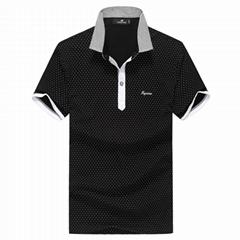 Fuguiniao Mens Slim Polka Dot Paddy Business Polo Shirts Black