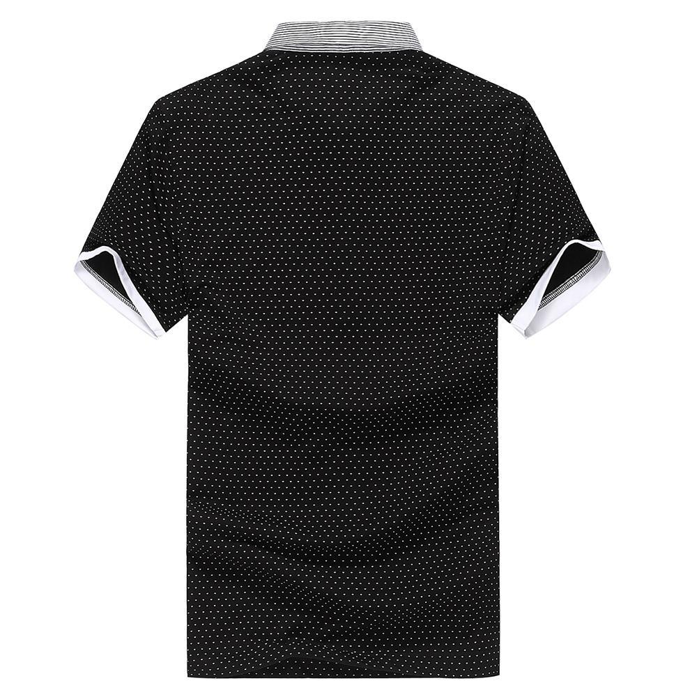 Fuguiniao Mens Slim Polka Dot Paddy Business Polo Shirts Black 2