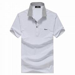 FUGUINIAO Men's Turn-down Collar White Polo Shirt
