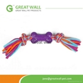 cloth rope toy with purple plastic bone