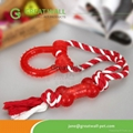 Cotton rope pet toys with rubber bone
